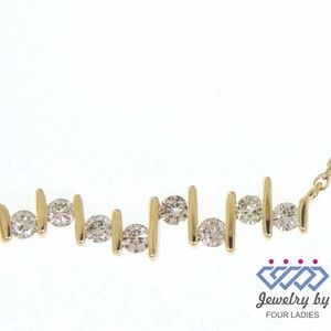 Solid 14K Yellow Gold Fancy Diamond Fine Necklace